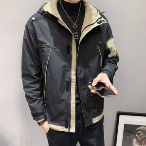 2021 spring and autumn new men's jacket fashion stitching zipper jacket casual hooded slim letter printed jacket high quality