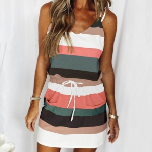 New style European and American women's dress with drawstring color sling dress
